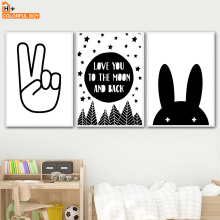 COLORFULBOY Rabbit Moom Love Quotes Wall Art Print Canvas Painting Nordic Poster Black White Pictures Baby Kids Room Decor