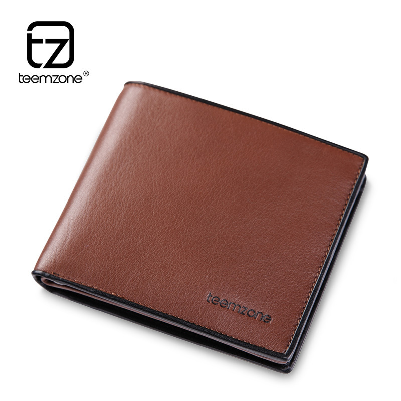 teemzone - Fashion Trend Mens Wallet Men's New Business Casual Series Genuine Real Leather Cowhide ID J34