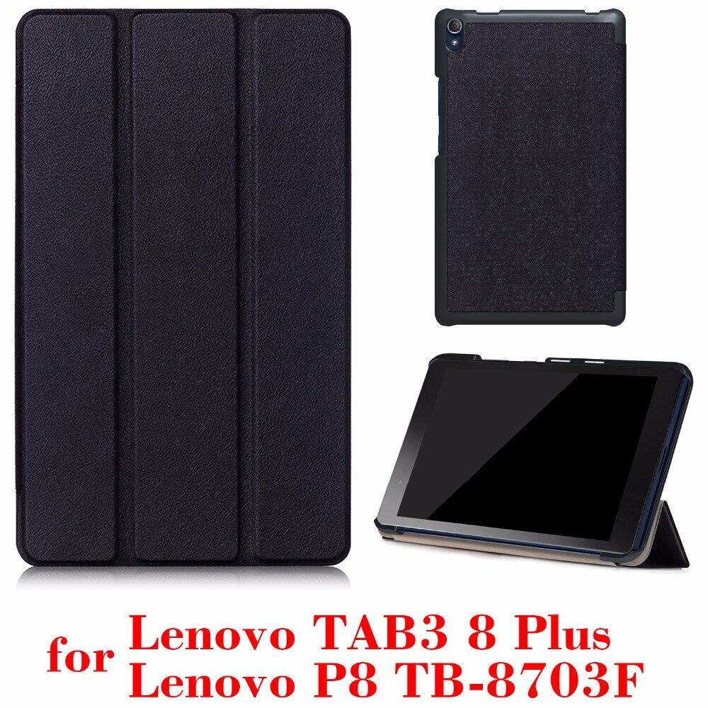 Caso de la cubierta para Lenovo Tab3 8 Plus y P8 TB-8703 TB-8703N 8 pulgadas Tablet versión 2016 con soporte caja protectora de la PU de cuero