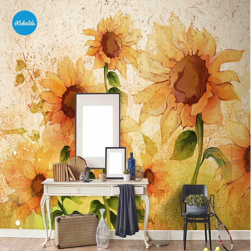 XCHELDA Custom Modern Luxury Photo Wall Mural 3D Wallpaper Papel De Parede  Living Room Tv Backdrop Wall Paper Of Sunflower custom children wallpaper multicolored crayons 3d cartoon mural for living room bedroom hotel backdrop vinyl papel de parede