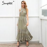 Simplee Halter Hollow Out Long Summer Dress Women Backless Tie Up Bow Maxi Dress Elegant 2018