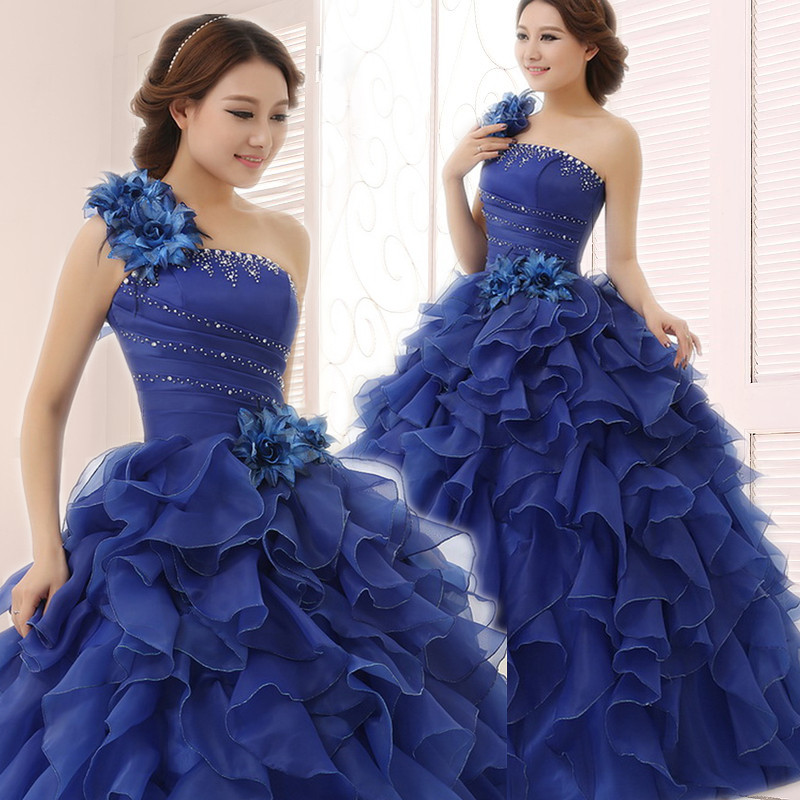New Quinceanera Dresses Blue One Shoulder Flower Ruffles Tiered Sexy Catwalk Dress Plus Size Prom Performance