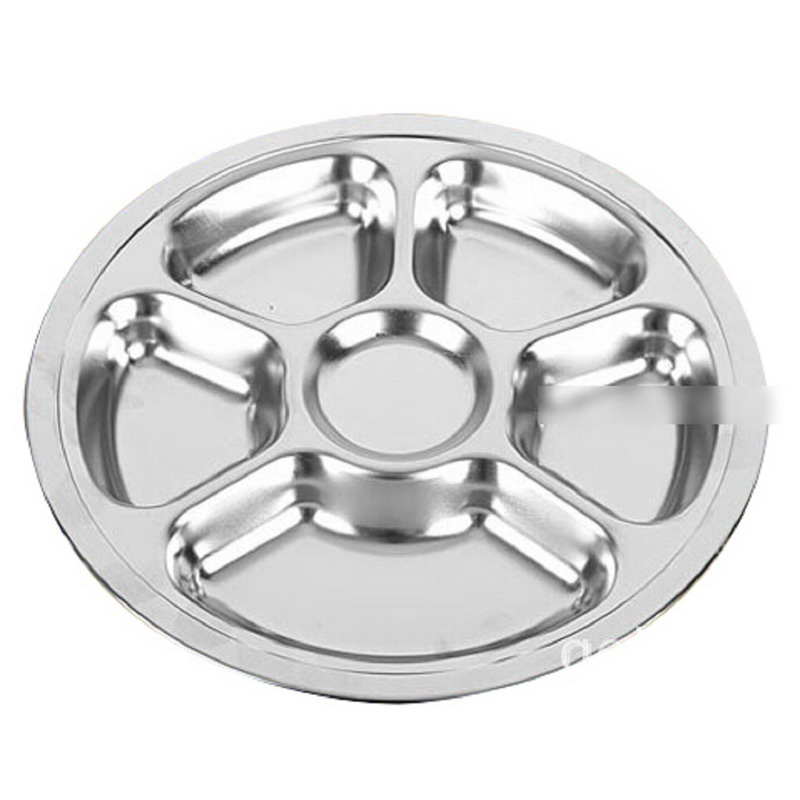 1pcs Stainless Steel Students Grid Dinner Plate Tableware Dish Round Plate 6 Sections-in Dishes u0026 Plates from Home u0026 Garden on Aliexpress.com   Alibaba ...  sc 1 st  AliExpress.com & 1pcs Stainless Steel Students Grid Dinner Plate Tableware Dish Round ...