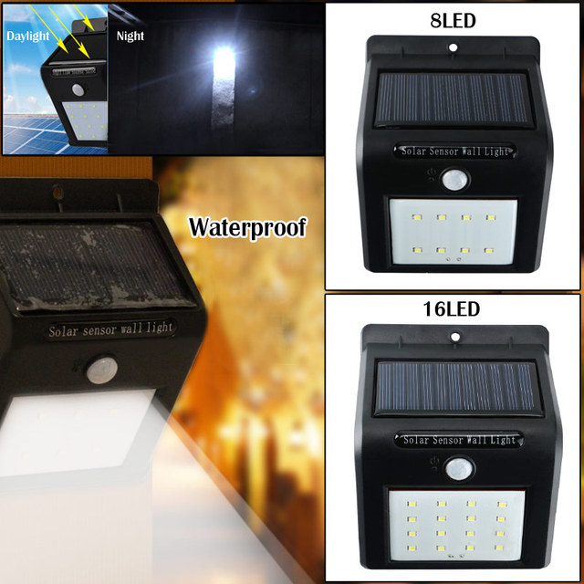 Outdoor Waterproof Solar PIR Motion Sensor LED Wall Light Garden Lamp Built In 18650 Battery