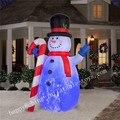 Patio al aire libre Gran Muñeco de Nieve Inflable de Navidad Decoraciones de Navidad De la Familia Arte Decoración Muñeco de Nieve