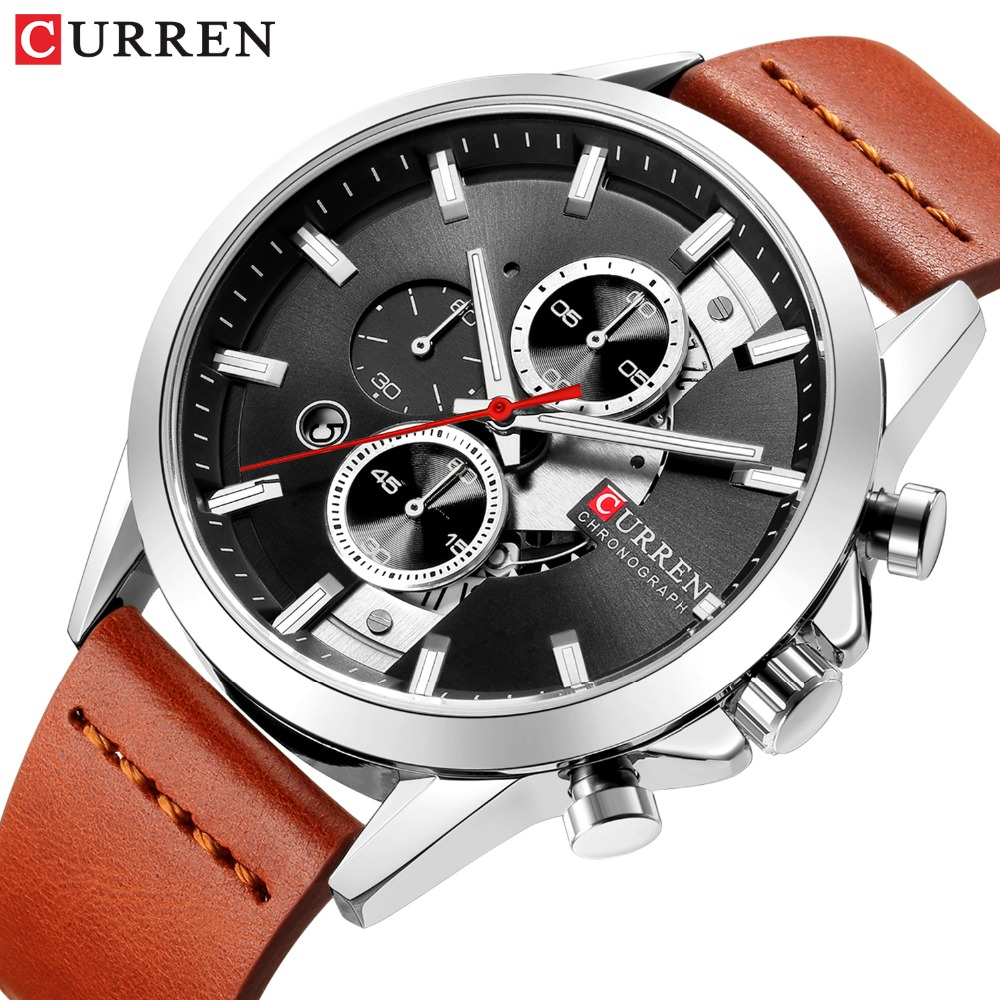 New Top Brand Luxury Chronograph Sports Mens Watch CURREN Casual Calendar Business Wristwatch with Leather Strap Male Clock New Top Brand Luxury Chronograph Sports Mens Watch CURREN Casual Calendar Business Wristwatch with Leather Strap Male Clock