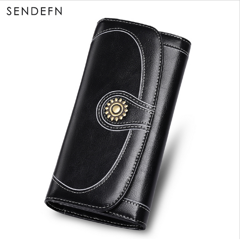 SENDEFN Розділити шкіру довгий гаманець бренд жіночий старовинних жінок гаманці 2018 новий молодий леді гаманці монета гаманець для iPhone7S