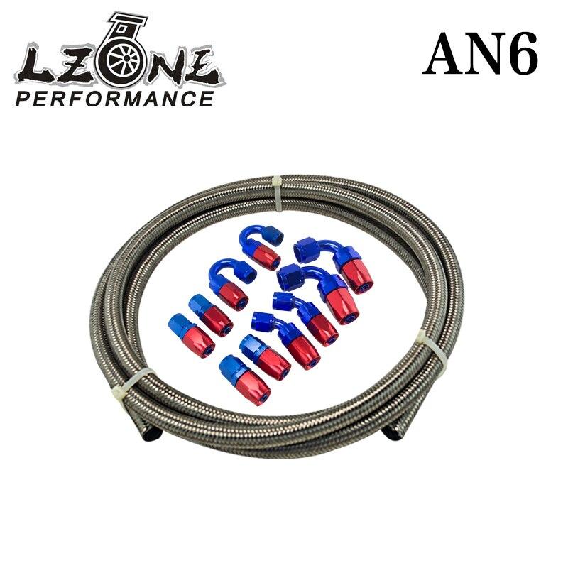 AN-6 AN6 90° Deg Swivel Fuel Oil Gas Line Hose End Fitting Adapter BLACK