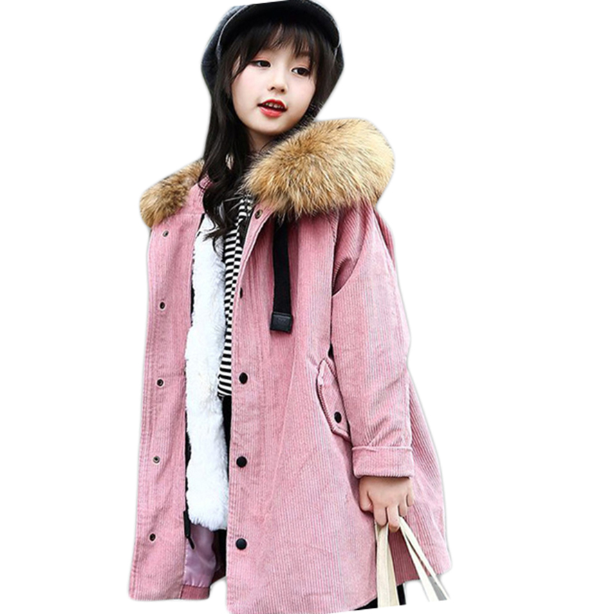 Children Winter Jackets For Girls Hooded Thick Fur Girls Coat Solid Girls Jacket Teenage Clothing For Girls 4 6 8 10 12 14 Years princess girls winter coat long duck down thick faux fur hooded winter jacket for kids girls age 6 8 10 12 14 years old