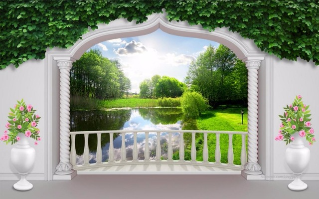 3d wallpapers nature Garden terrace lakes and trees 3D mural ...