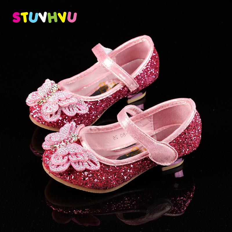 2018 Children sandals high heel shoes for kids girls rhinestone butterfly party wedding princess shoes pink blue silver A666-80 girls pearl beading rhinestone sandals princess square heel pointed toe dress shoes children wedding party formal shoes aa51329