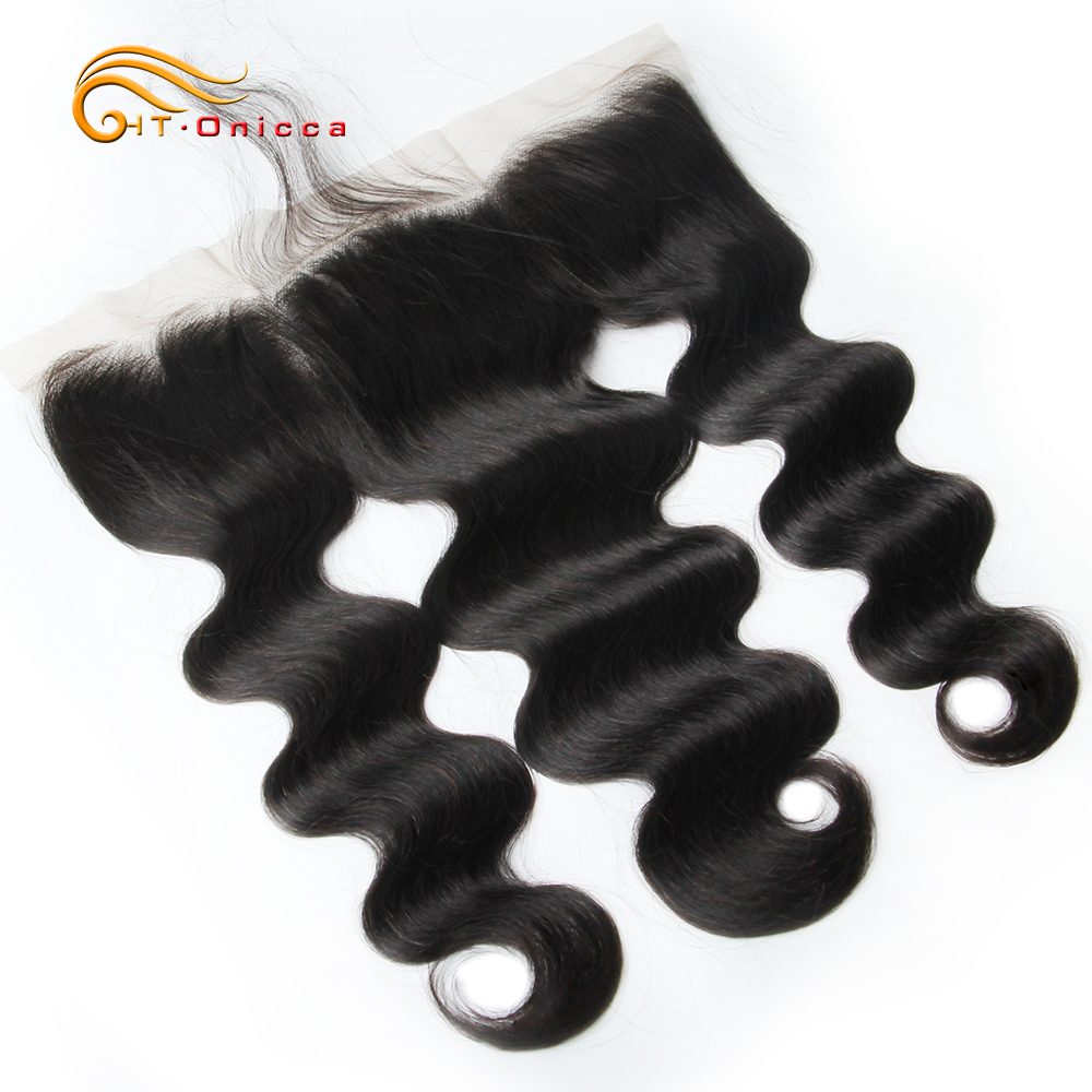 Onicca Lace Frontal Closure With Baby Hair Human Hair Lace Closure Non Remy Brazilian Body Wave Weaving Swiss Lace Frontal(China)