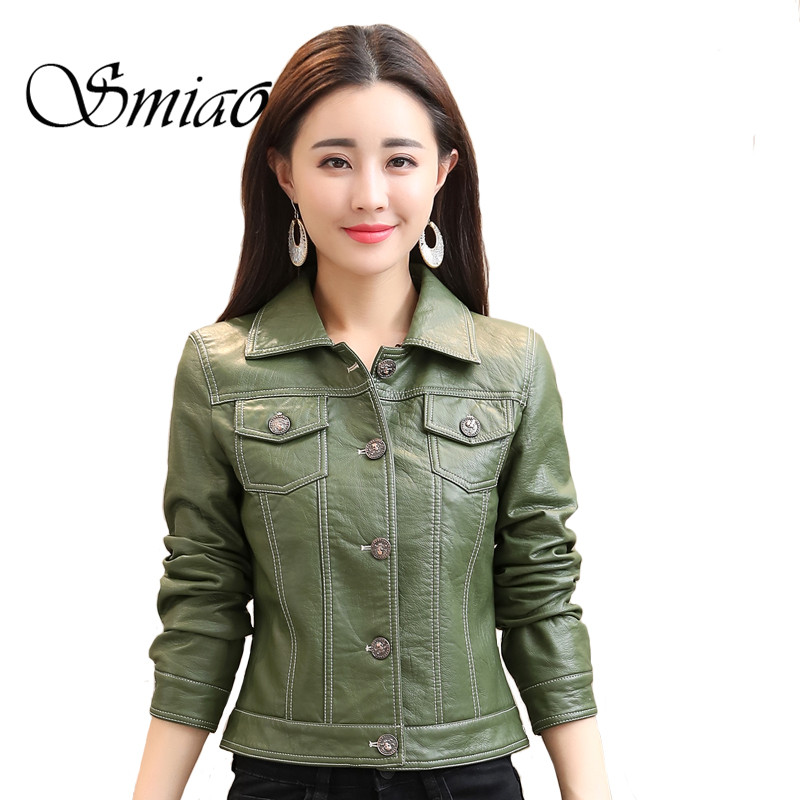 Smiao 2018 Casual Jacket For Women Slim Shirt Jacket Spring Short   Leather   Jacket Female PU Clothes Buttoned Blouse Faux   Leather