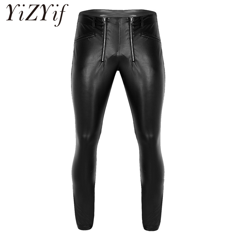 Sexy Men Faux Leather Pencil Pants Skinny Zipper Trousers Slim Fit Stretchy Tight Leggings Stage Dance Clubwear For Night Club