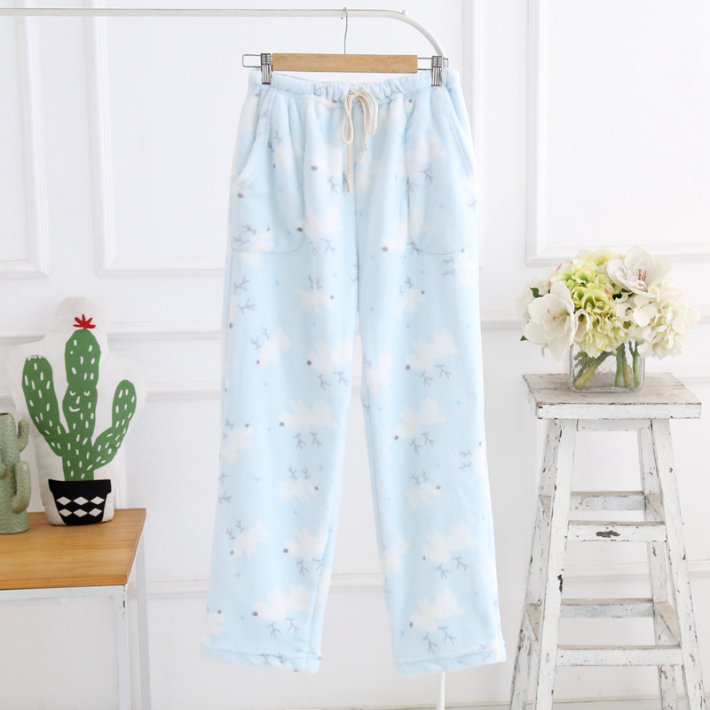 Winter Sleep Bottoms Flannel Fleece Pajama Pants Ladies Casual Trousers Floral Long Loose Lounge Homewear Women Plus Size XL