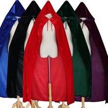 08133f2b7722c Kostiumy Halloween dla Kobiet Mężczyźni Fantazyjne Płaszcz Z Kapturem  Aksamit Dorosłych Halloween Witch Długa Fioletowy Zielony