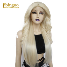 Ebingoo Long Body Wave Straight Blonde Synthetic Lace Front Wigs Pre Plucked with Side Part for Women Heat Resistant 30 Inch ★