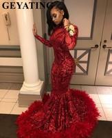 2019 красный плюс Размеры с длинным рукавом Русалка африканские платья для выпускного вечера с перьями Поезд Высокая шея элегантный черный д