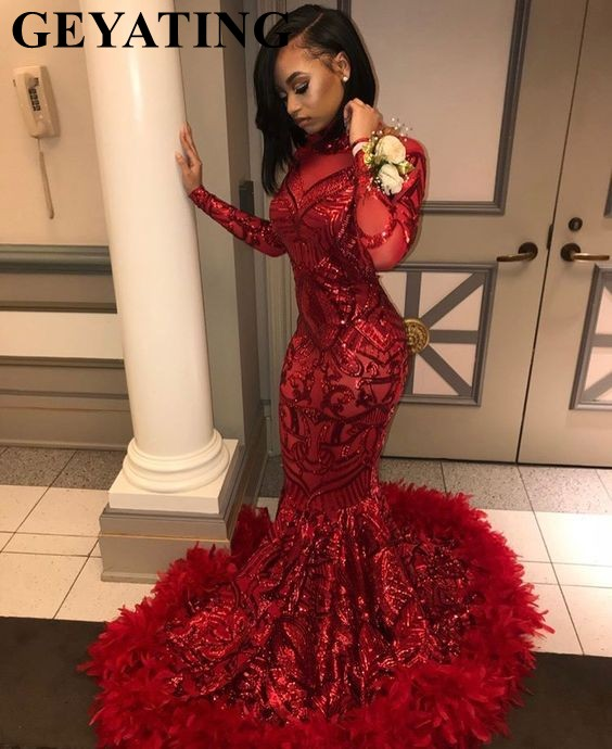 2019 Red Plus Size Long Sleeve Mermaid African Prom Dresses With Feathers Train High Neck Elegant Black Girls Evening Gala Gowns