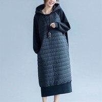 Plus size M 5XL 6XL women Winter Parkas dress,big size black long Autumn coats,spliced Hooded Winter Jackets