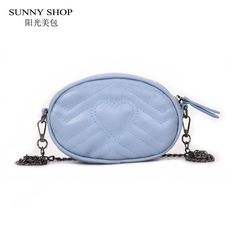 SUNNY SHOP Candy Color Fanny Pack Women 2018 Heart Parttern Waist Bag PU Leather Belt Bag Crossbody Leg Bag Money Mini Pink Blue