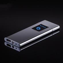 Зажигалки для сигарет ветрозащитный негорящий ультра-тонкий USB Перезаряжаемый сенсорный-senstive металлическая зажигалка вольфрамовый турбо для курения зажигалка usb
