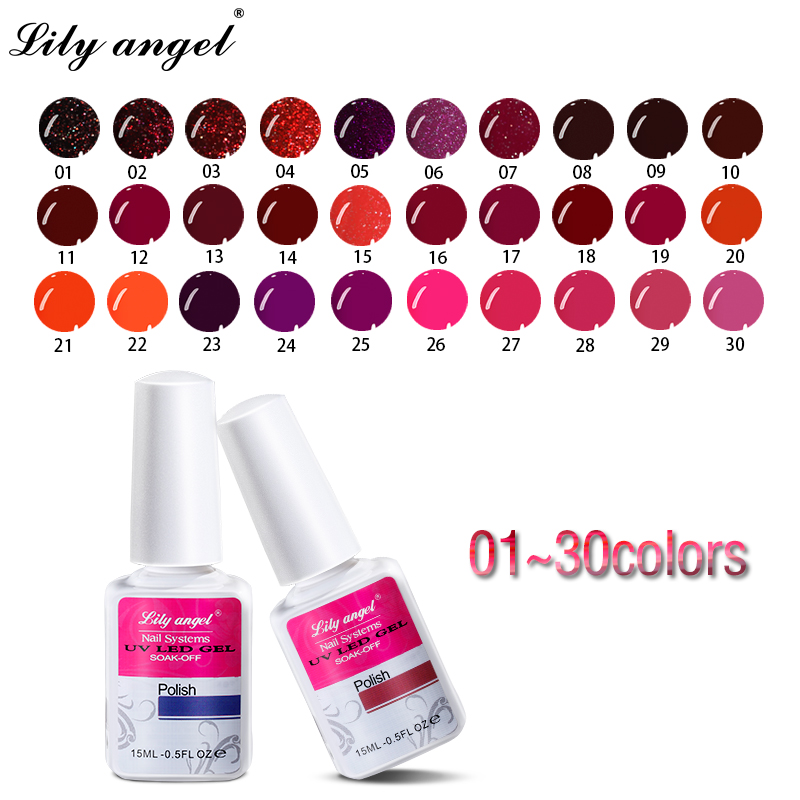 Lily Angel Newest 15ml UV Gel Nail Polish Soak Off LED Needed Lacquer Long Lasting Varnish DIY Desgin FP1-30