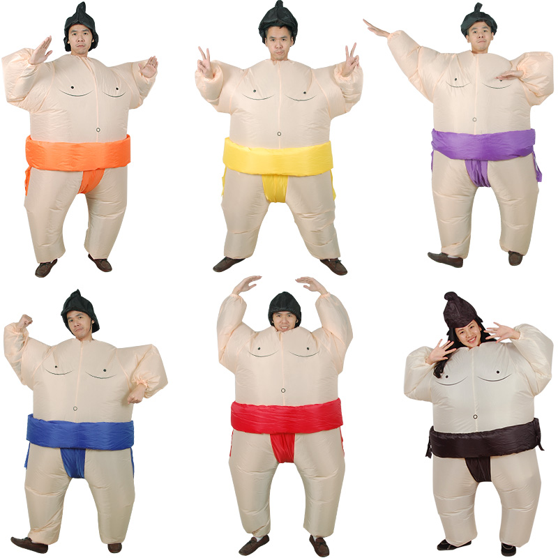Wrestler Cosplay Costume Sumo Inflatable Costume Masquerade Halloween Props Movie Cosplay Leotard Air Blower Halloween Carnival