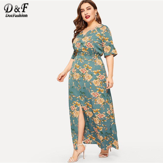 Dotfashion Plus Size Green Floral Print Split Dress Women 2019 Boho Summer V Neck Half Sleeve A Line High Waist Maxi Dresses 2