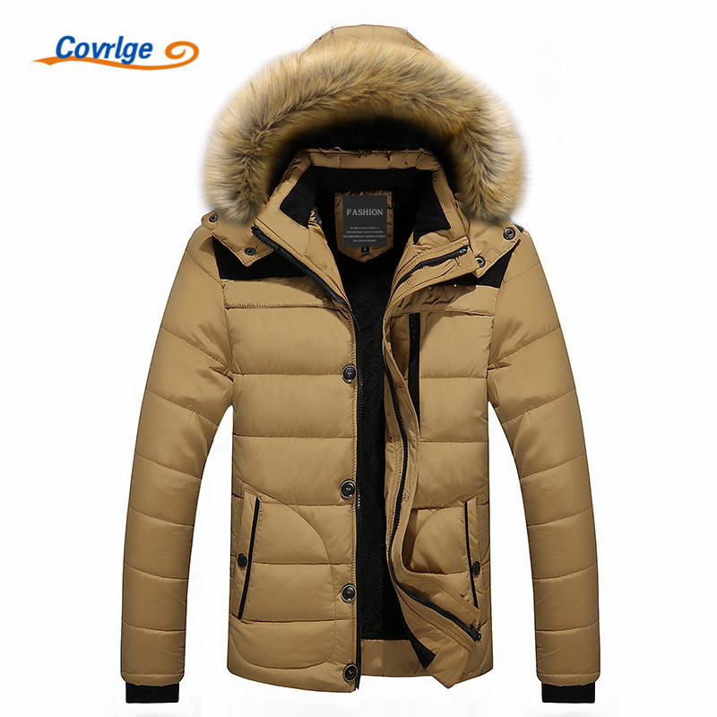 Covrlge 2017 Mens Coats Parkas Fashion Warm Winter Parka Men Clothing Overseas Fur Hood Male Jacket Cold Casual Parks MWM009