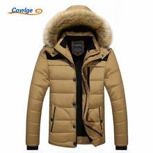 Covrlge 2017 Mens Coats Parkas Fashion Warm Winter Parka Men Clothing Overseas Fur Hood Male Jacket Cold Casual Parks MWM009