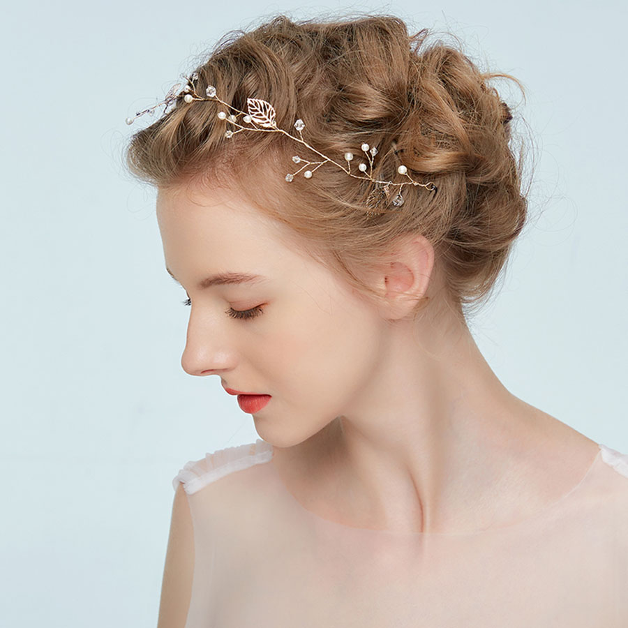 wedding hair accessories hair clips white pearl hairband hollow