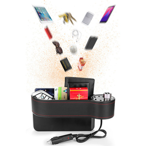Image 2 - Caja de almacenamiento de hendidura de asiento para coche 2 cargadores USB para coche, encendedor de cigarrillos, bolsa organizadora para automóvil, espacio de bolsillo, tarjetero de carga