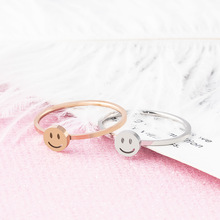 ZMZY Simple Thin Stainless Steel Ring Dainty Stackable Rings For Women Minimalist Jewelry Cute Smile Wedding Ring Gift Anillos
