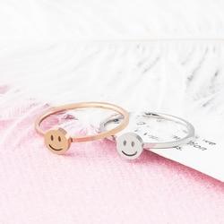 ZMZY Simple mince en acier inoxydable anneau délicat empilables anneaux pour les femmes minimaliste bijoux mignon sourire bague de mariage cadeau Anillos