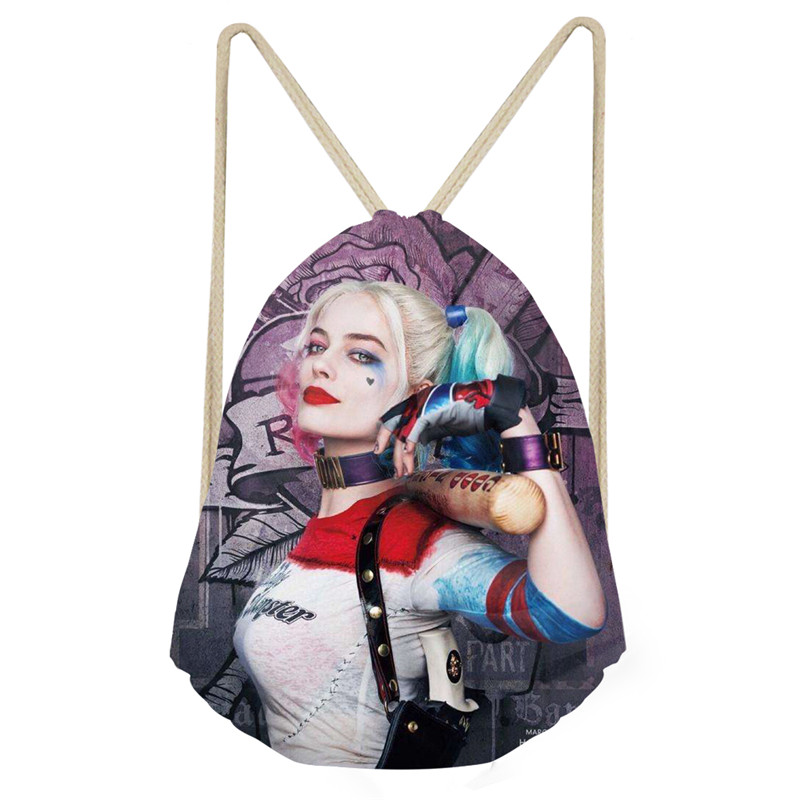 THIKIN Harley Quinn Joker Print Drawstring Bag For Kids Girls Feminina Sac A Dos High-Quality School Girls Backpack Good Quality