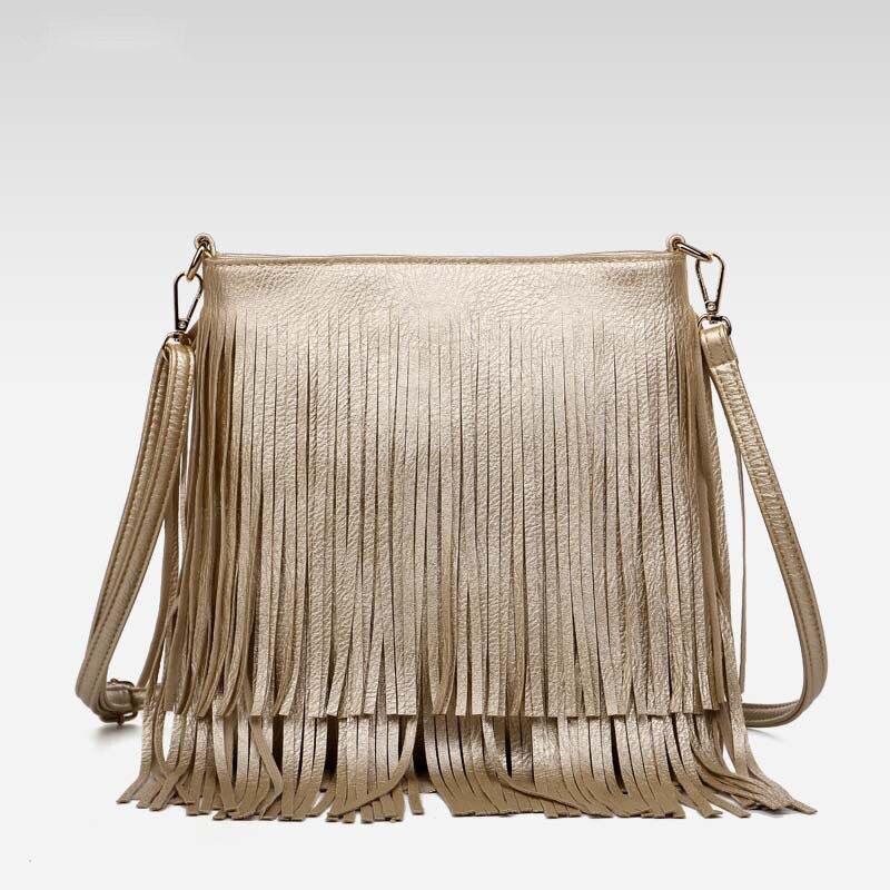 2016 Women Fashion Tassel Fringe Handbags Trend Leather Shoulder Bag Ladies Black Leather Crossbody Bags Bolsa