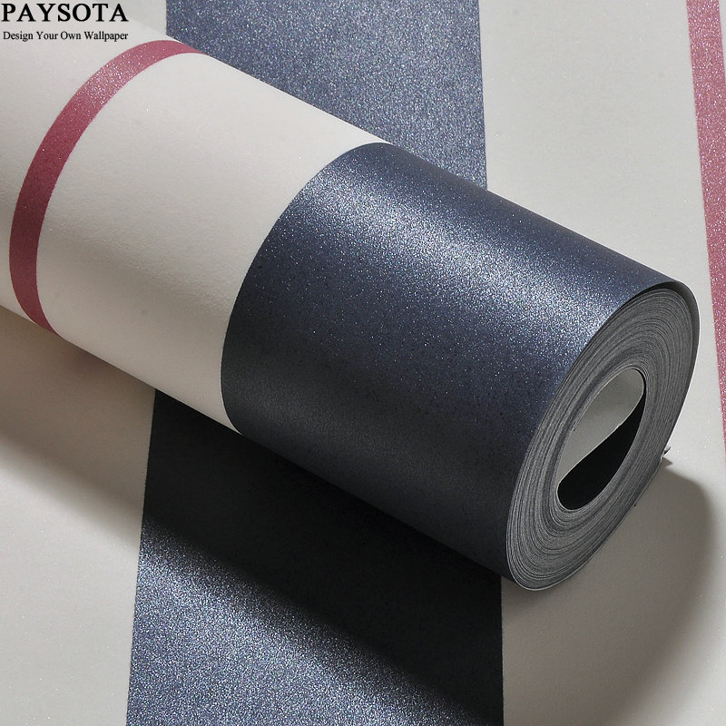 цена на PAYSOTA Mediterranean Style Blue Pink Stripes Non-woven Wallpaper Bedroom Background Boys Girls Cartoon Children Room Wall Paper