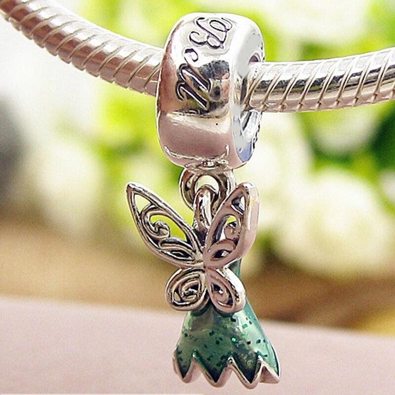 New bead Fit Original Pandora Bracelets 925 Sterling Silver Tinker Bell\'s Dress Glittering Green Enamel Charm Spring Diy Jewelry (6)