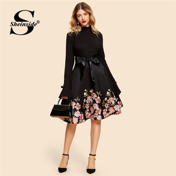 Sheinside Black or Navy Vintage Self Tie Floral Print Dress Elegant Women Belted Long Sleeve Dresses 2019 Fall A Line Dress