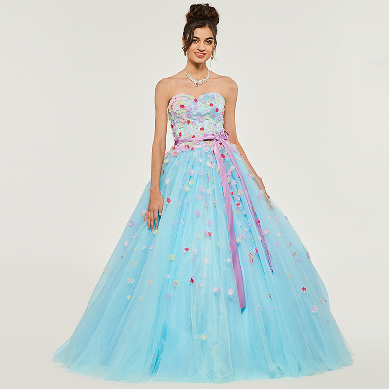 Tanpell strapless ball gown quinceanera dresses appliques sleeveless floor length gown women sweety 16 formal quinceanera dress