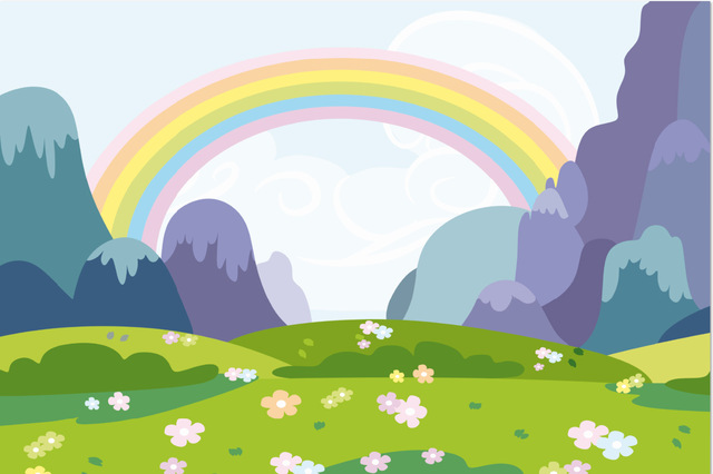 7x5ft Cartoon Rainbow Sky Green Grass Field Mountain Pony