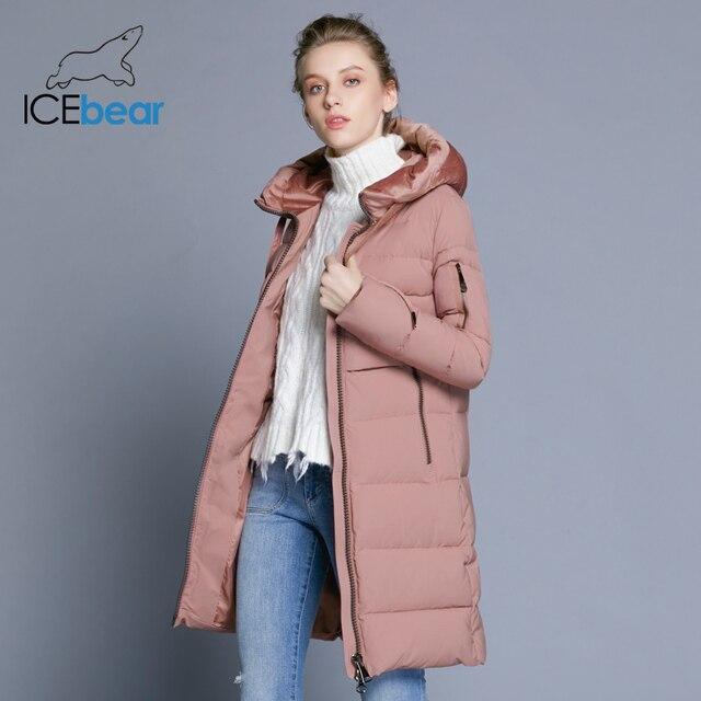 ICEbear 2018 Новинка высокое качество велюровой ткани куртка женская стильная простая повседневная женская куртка с капюшоном толстый теплый женский бренд одежды GWD18232