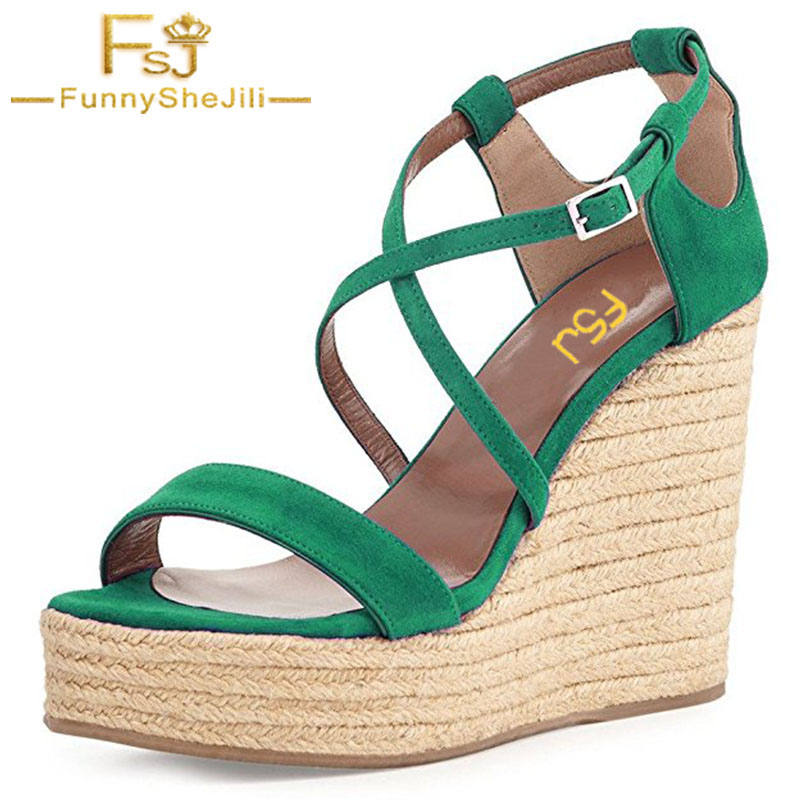 FSJ Women Shoes Platform Wedges Sandals Flock Buckle Strap Cross-strap 2018 Summer Sexy Casual Green Ladies Shoes Plus Size 16 xiaying smile woman sandals shoes women pumps summer casual platform wedges heels buckle strap flock hollow rubber women shoes