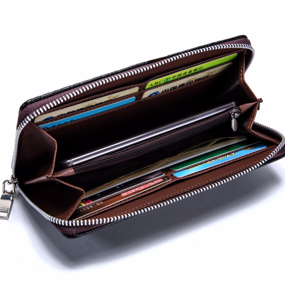 New 2017 Men Wallets Long Clutch Wallet Famous Brand Hand Bag with Flip Up ID Window Purse Male Money Purses Zipper Coin Bag C04 designer men wallets famous brand men long wallet clutch male money purses wrist strap wallet big capacity phone bag card holder