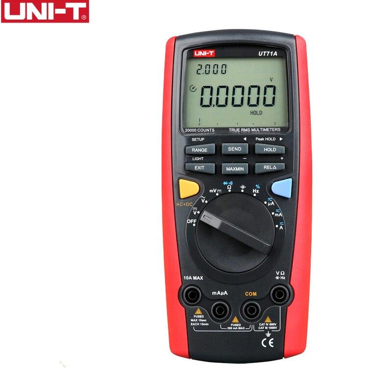 UNI T UT71A умный мультиметр ЖК дисплей 19999 Дисплей Digital AC + постоянный ток Напряжение USB Интерфейс True RMS rel авто Диапазон