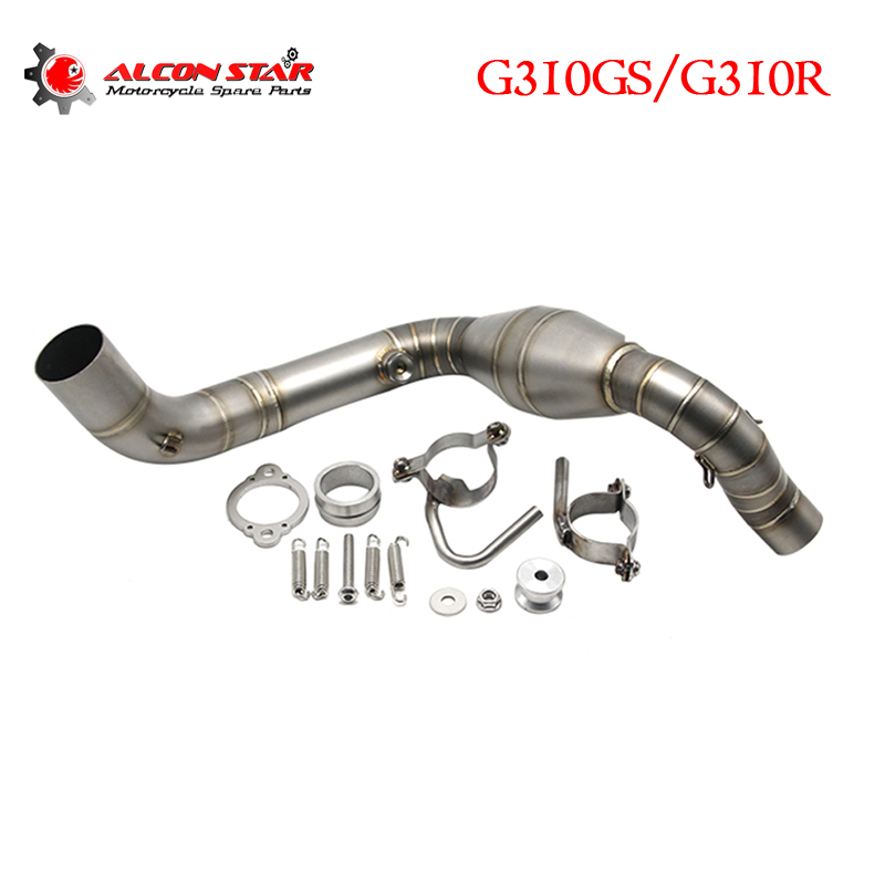 Alconstar- Motorcycle Exhaust Pipe For BMW G310GS G310R Exhaust Motorcycle Muffler Middle Link Pipe Stainless Steel with Sensor цены онлайн