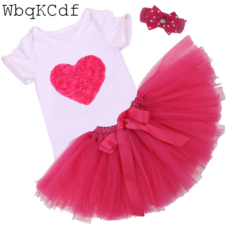 2017 New Baby Girl Casual Clothes Summer Newborn Romper Sets My First Birthday Suit Short Sleeve Bebes Party Dress