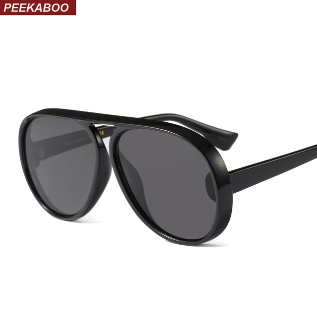 06f391054d Peekaboo oversized black flat top sunglasses men 2018 retro brown women  designer sun glasses high quality men gift uv400