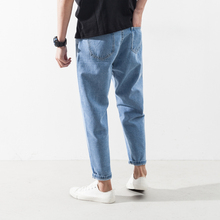 New Men's Clothing Jeans small feet nine point pants Korean fashion casual embroidery casual Haren trousers